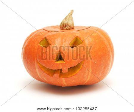 orange pumpkin lantern isolated on white