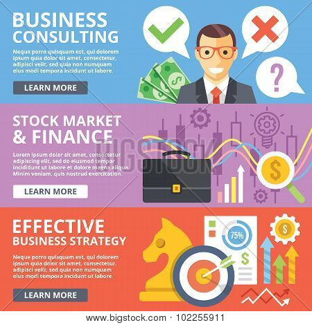Business consulting, stock market, finance, business strategy flat illustration