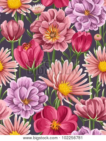 Spring seamless pattern with bright tulip, peonies, chamomiles in watercolor style on dark  background.