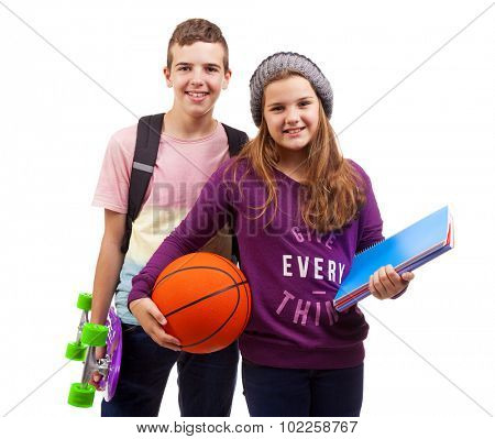School kids standing smiling on white background
