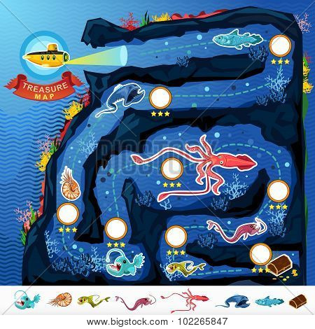 Deep Sea Exploration Treasure Game Map