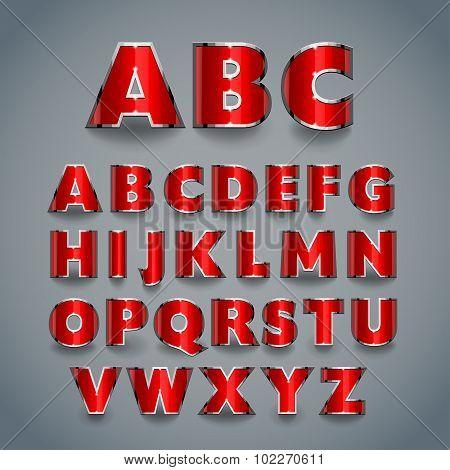 Shiny Red Font. Alphabet Design.