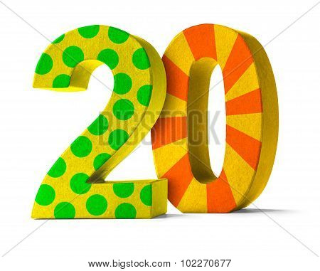 Colorful Paper Mache Number On A White Background  - Number 20