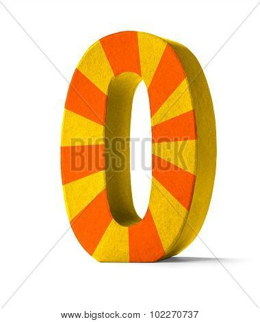 Colorful Paper Mache Number On A White Background  - Number 0