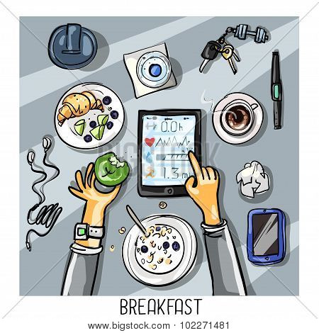 Top view background - person having breakfast