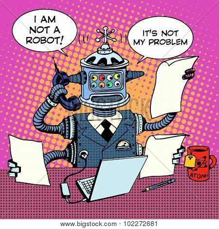 Robot Secretary on the phone business concept