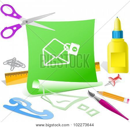 open mail with lock. Paper template. Vector illustration.