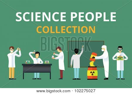 Science laboratory radiation biology vector people. People in secret laboratory isolated silhouette. Nuclear weapon, biologist, nuclear, radioactivity, radiation waste. Chemist, Medical Doctor