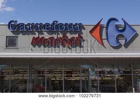 Facade Of The Carrefour Market In La Voulte Sur Rhone
