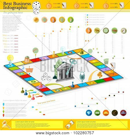 flat business infographic background with finanial board game game cells, dice, game pieces, money, pointer, icon etc