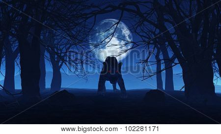 3D render of an evil black panther in spooky Halloween woods poster