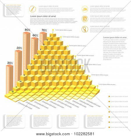 business infographic gold piramide from cubes and icons pointers notes