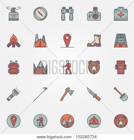 Colorful hiking icons