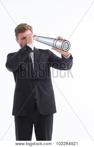 Businessman using telescope