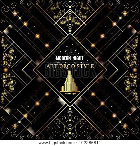 Art deco geometric pattern golden shiny background modern 1920's style