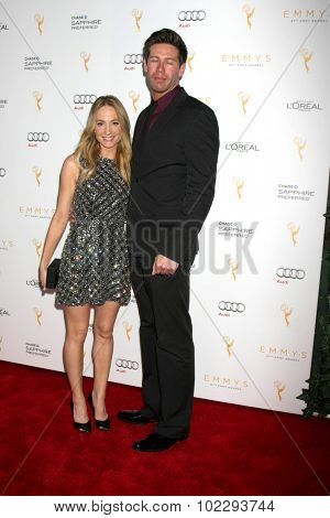 LOS ANGELES - SEP 19:  Joanne Froggatt, James Cannon at the 67th Emmy Awards Performers Nominee Reception at the Pacific Design Center on September 19, 2015 in West Hollywood, CA
