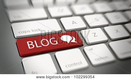 Online blog or blogging concept with a red enter button on a white computer keyboard with the word - Blog - and a chat icon , close up high angle view with blur vignette. 3d Rendering.