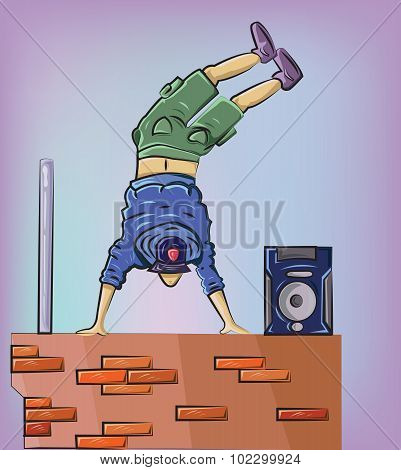 Breakdancer On The Brick Wall