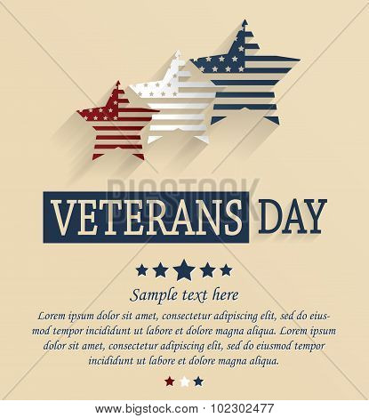Veterans Day card. Red, white and blue stars