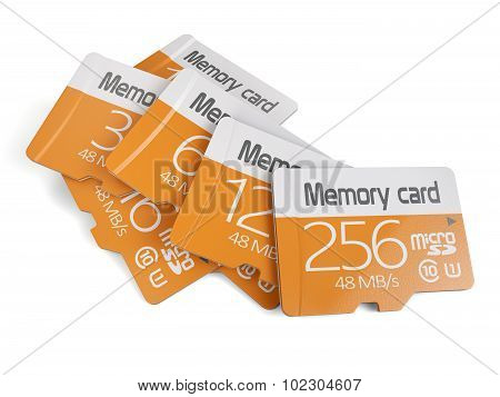 3d rendering of memory micro sd card heap. Isolated on white background poster