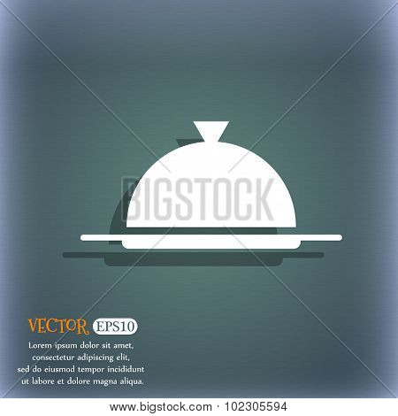 Food Platter Serving Sign Icon. Table Setting In Restaurant Symbol. On The Blue-green Abstract Backg