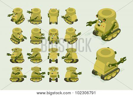 Isometric khaki military robot on crawler tracks