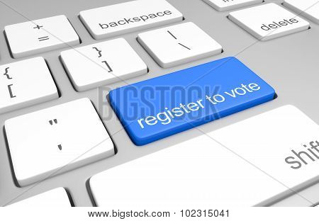 Register to vote key on a computer keyboard for easy participation in elections