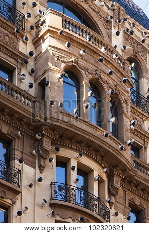 The Decorative Balcony Background In Barcelona, Spain