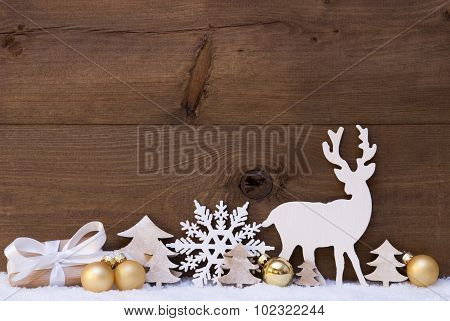 Golden Christmas Decoration, Snow, Tree, Reindeer And Gift
