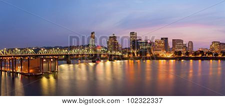 Portland City Skyline At Twilight Panorama