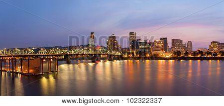 Portland City Skyline At Twilight Panorama