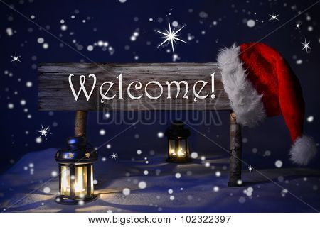 Christmas Sign Candlelight Santa Hat Welcome