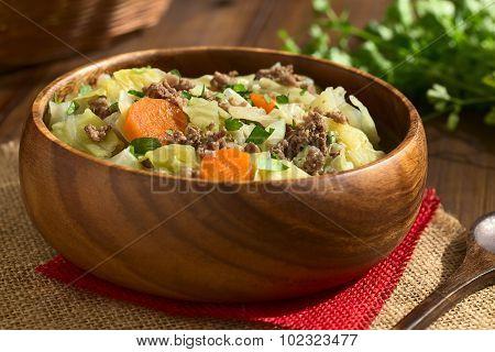Savoy Cabbage Carrot Potato Mincemeat Stew