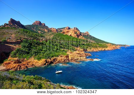 Esterel Rocks Beach Coast And Sea. Cannes Saint Raphael Cote Azur, Provence, France.