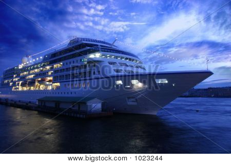 Ocean Liner And Blue Evening