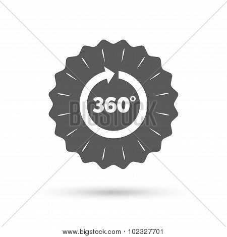 Vintage emblem medal. Angle 360 degrees sign icon. Geometry math symbol. Full rotation. Classic flat icon. Vector poster