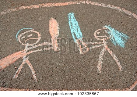 Child's side walk chalk drawing of fight