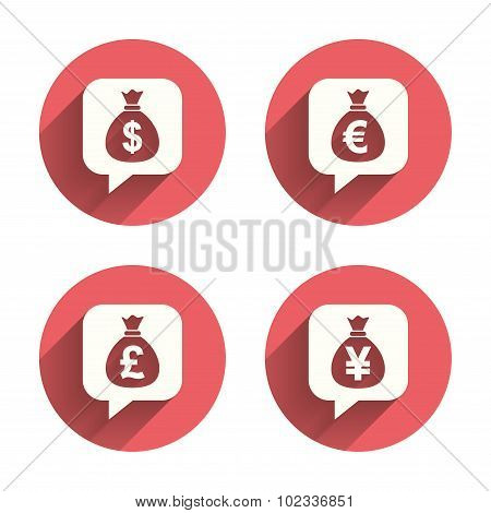 Money bag icons. Dollar, Euro, Pound and Yen speech bubbles symbols. USD, EUR, GBP and JPY currency signs. Pink circles flat buttons with shadow. Vector poster