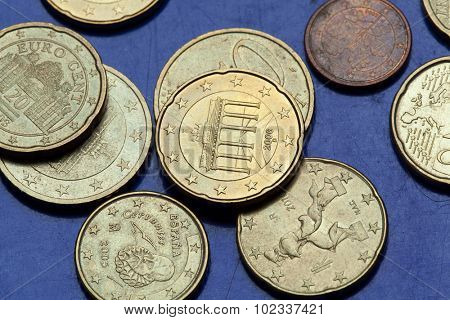 Brandenburg Gate in Berlin, Germany, depicted in the 20 eurocent coin. Coins of the European Union.