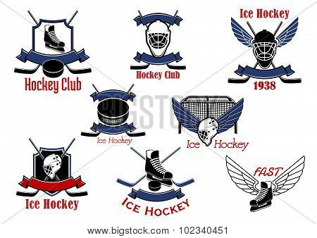 Ice hockey sport game icons and symbols