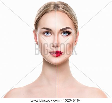Beautiful young woman before and after make up applying isolated on white background. Comparison portrait of two parts of model girl face - with and without makeup. Girl before and after make-up apply