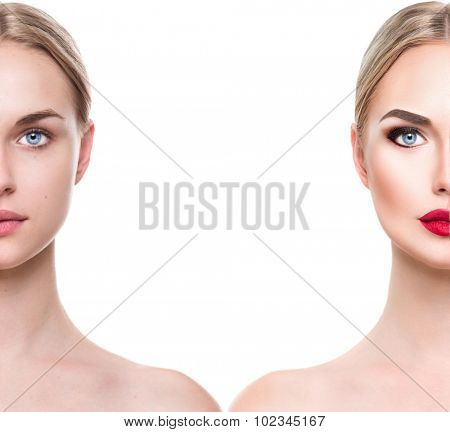 Comparison side by side portrait of a young beautiful woman with and without make-up. Face divided in two parts, make up and natural. Isolated on white background. Before and after make-up cosmetic