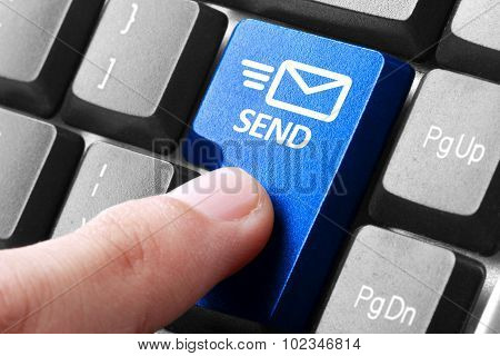 Hand Press Send Button On Keyboard