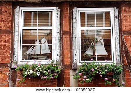 Mullioned Windows In An Old Half Timbered House