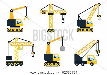 Construction icons. Types of cranes. Flat vector illustration