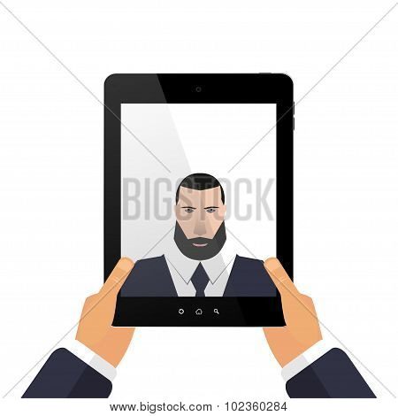 Picture yourself on a tablet with hands selfie