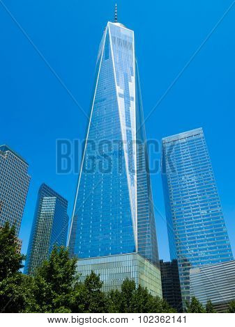 NEW YORK,USA - AUGUST 14,2015 : One World Trade Center also known as The Freedom Tower in downtown Manhattan, New York City
