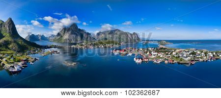 Breathtaking aerial panorama of fishing town Reine and surrounding fjords on Lofoten islands in Norway famous tourist destination poster