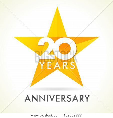 20 years old celebrating star logo. 20 th anniversary vector congrats color numbers. Greetings celebrates of winner. Stained-glass colorful stars shape. Mosaic gold colored template, best offer sign.
