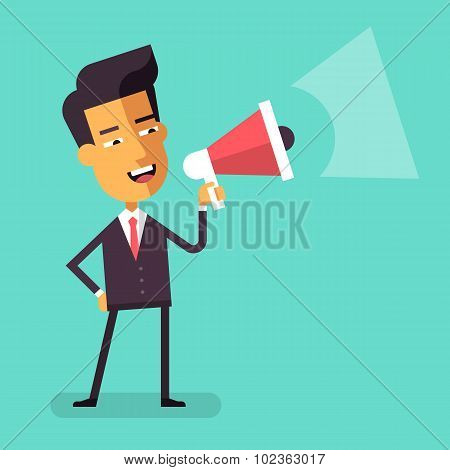 Asian businessman shouting into megaphone. Vector.